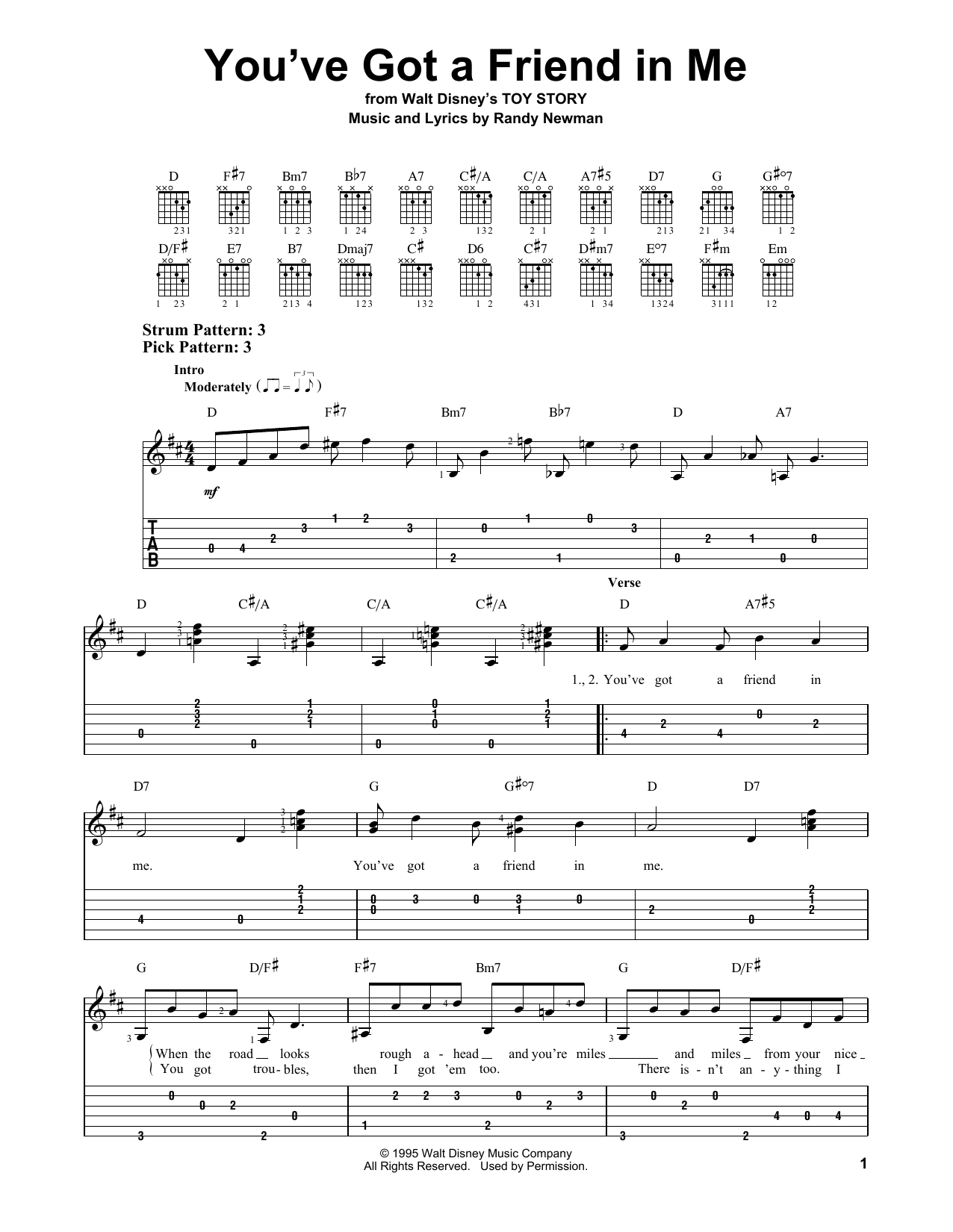 Tablature guitare You've Got A Friend In Me de Randy Newman - Tablature guitare facile