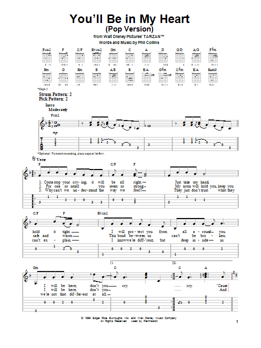 Tablature guitare You'll Be In My Heart (Pop Version) de Phil Collins - Tablature guitare facile