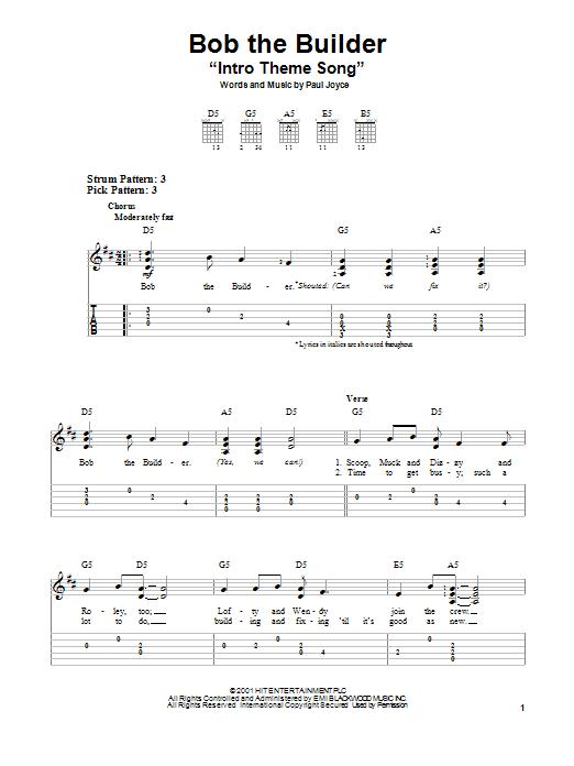 """Tablature guitare Bob The Builder """"Intro Theme Song"""" de Paul Joyce - Tablature guitare facile"""