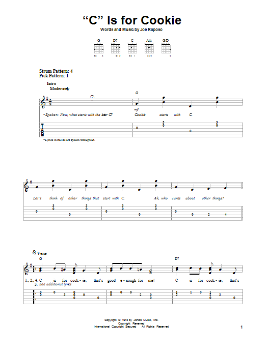 "Tablature guitare ""C"" Is For Cookie de The Cookie Monster - Tablature guitare facile"