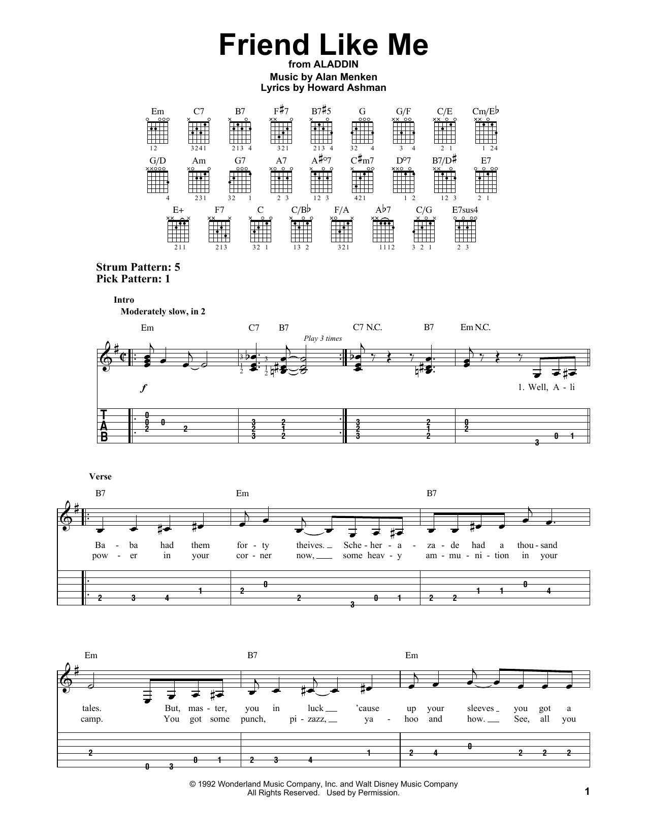 Tablature guitare Friend Like Me de Alan Menken - Tablature guitare facile