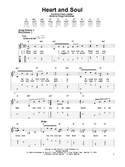 Tablature guitare Heart And Soul de Hoagy Carmichael - Tablature guitare facile