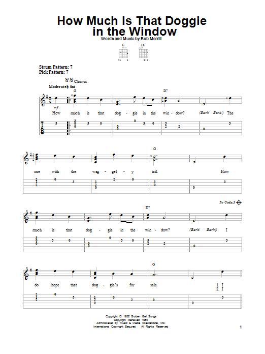 Tablature guitare How Much Is That Doggie In The Window de Bob Merrill - Tablature guitare facile