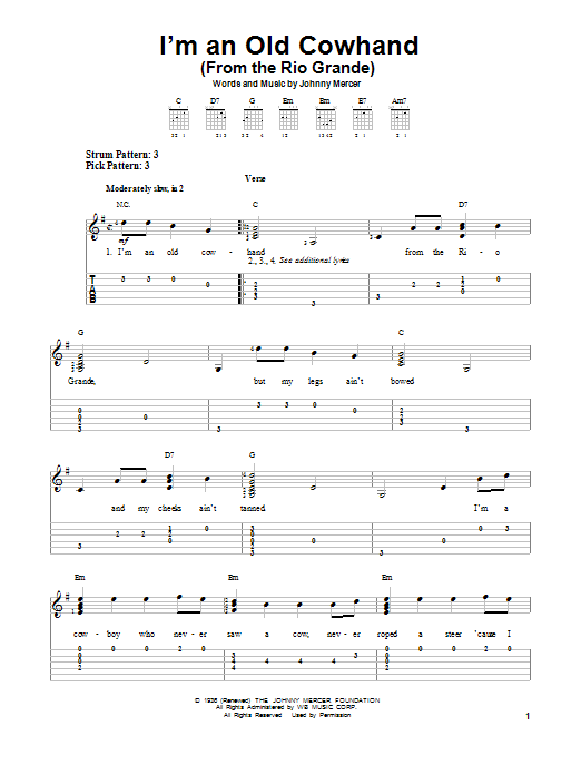 Tablature guitare I'm An Old Cowhand (From The Rio Grande) de Johnny Mercer - Tablature guitare facile