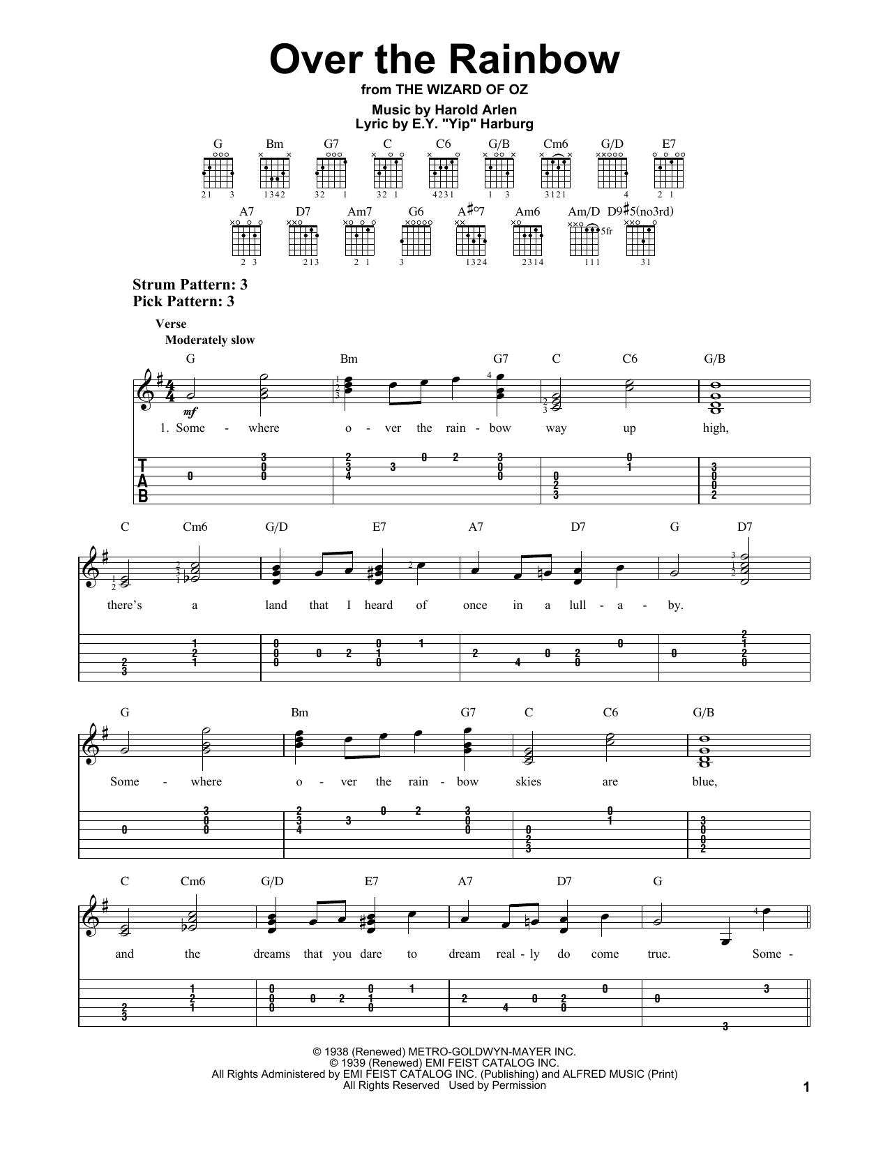 "Tablature guitare Over The Rainbow de E.Y. ""Yip"" Harburg - Tablature guitare facile"