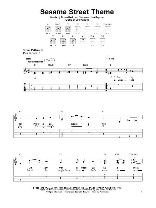 Tablature guitare Sesame Street Theme de Jon Stone - Tablature guitare facile