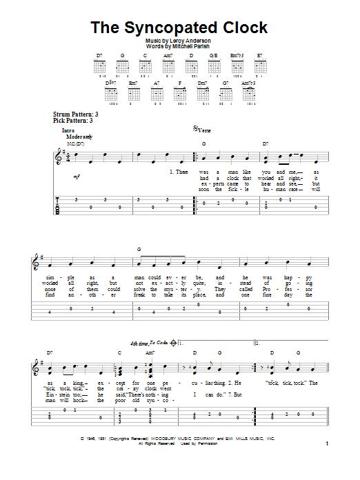 Tablature guitare The Syncopated Clock de Leroy Anderson - Tablature guitare facile