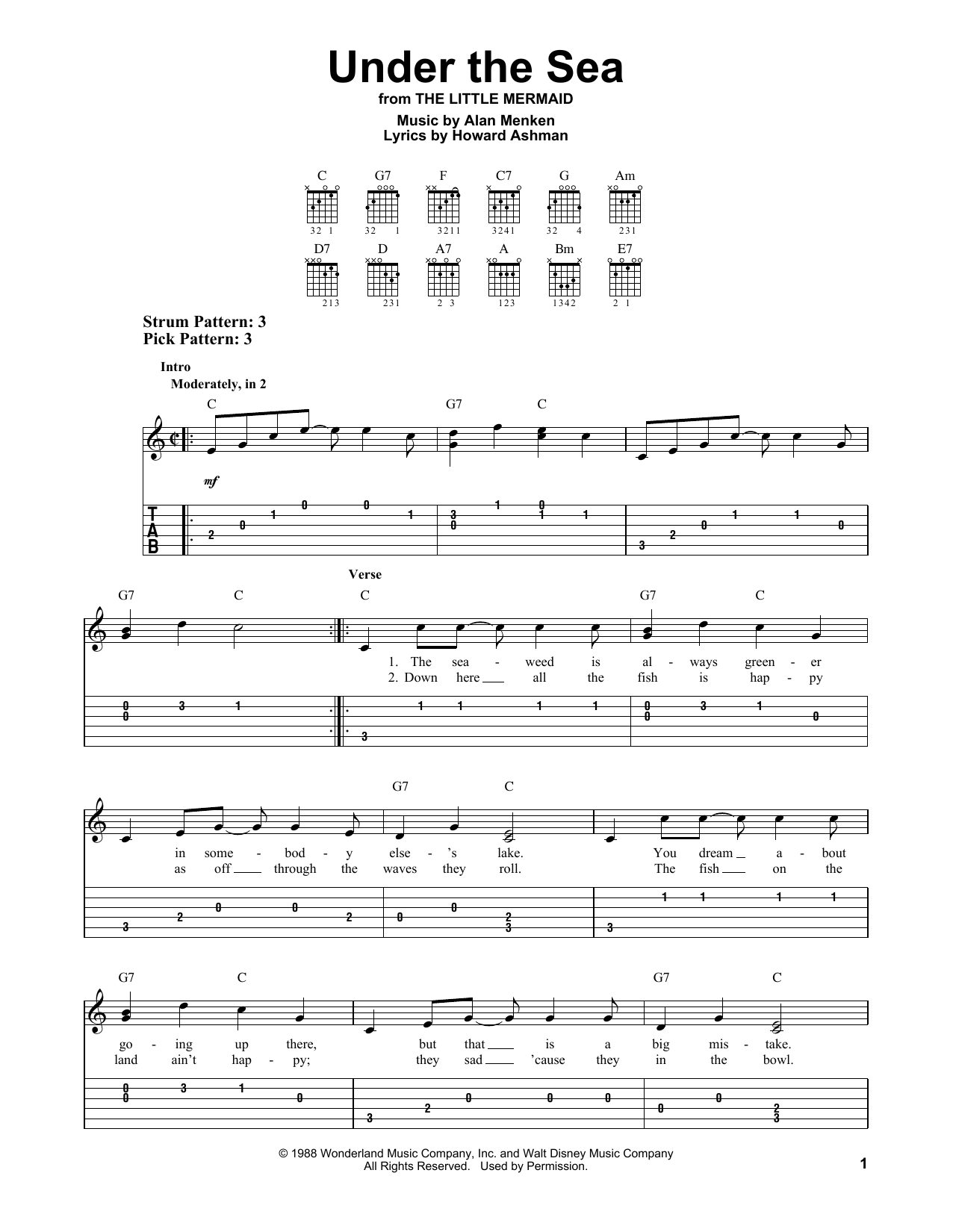 Alan Menken: Under The Sea - Easy Guitar Tab : Sheetmusicdirect.com