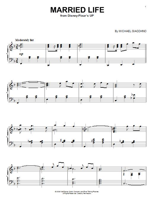 Partition piano Married Life de Michael Giacchino - Piano Voix Guitare (Mélodie Main Droite)