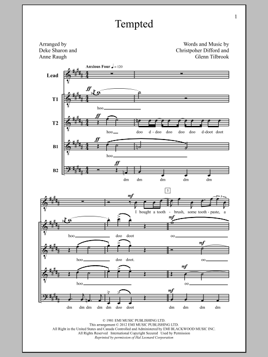 Partition chorale Tempted (arr. Deke Sharon) de Squeeze - TTBB