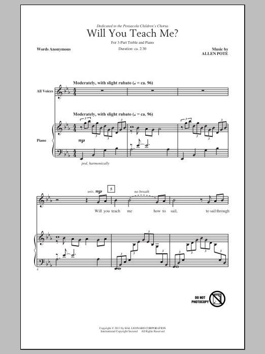 Partition chorale Will You Teach Me? de Allen Pote - 3 voix egales