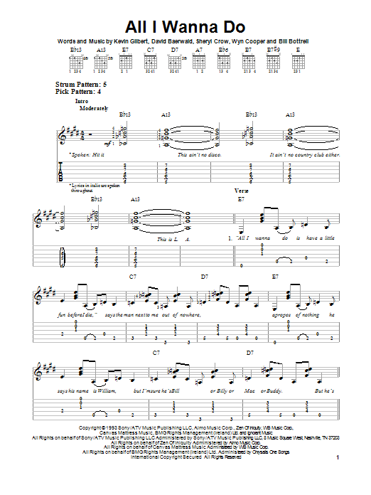 Tablature guitare All I Wanna Do de Sheryl Crow - Tablature guitare facile