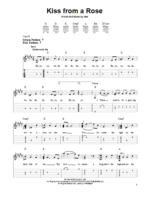 Tablature guitare Kiss From A Rose de Seal - Tablature guitare facile