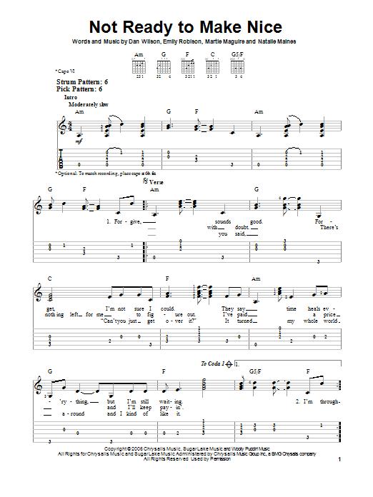 Tablature guitare Not Ready To Make Nice de Dixie Chicks - Tablature guitare facile