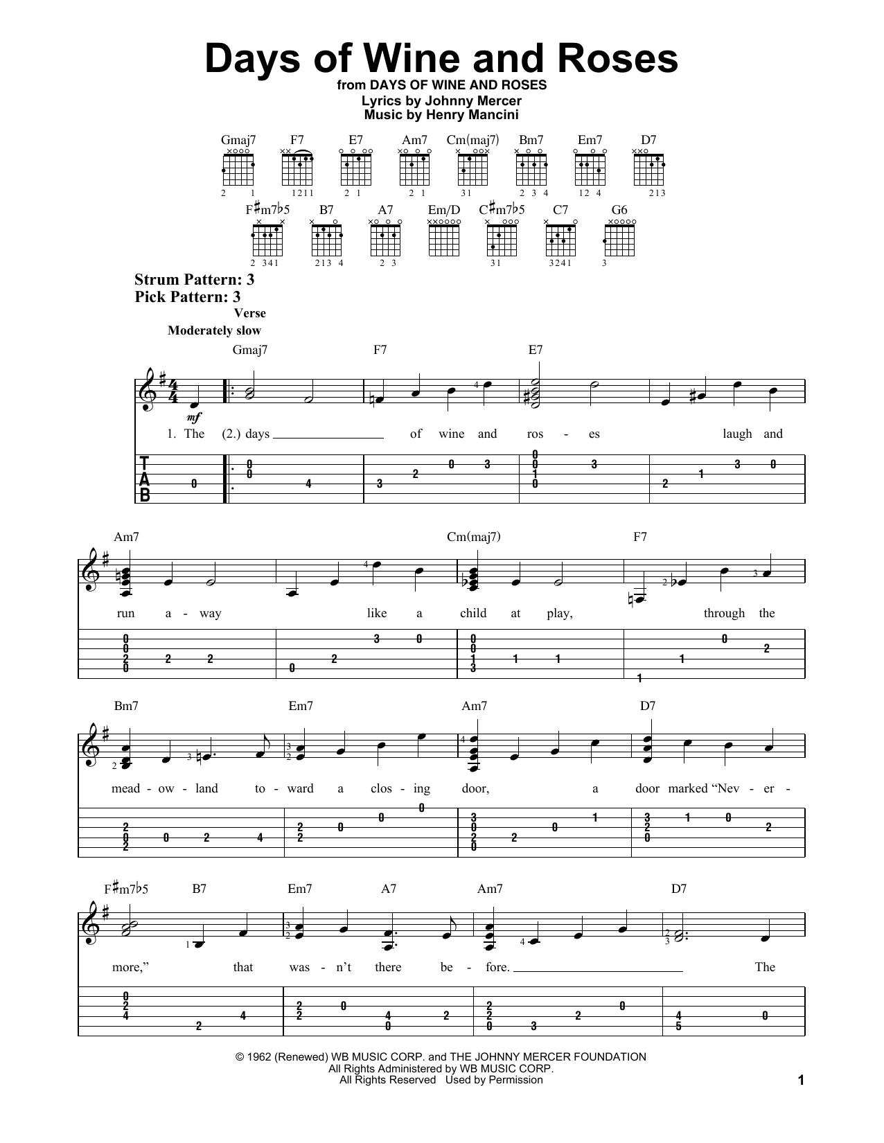 Tablature guitare Days Of Wine And Roses de Henry Mancini - Tablature guitare facile