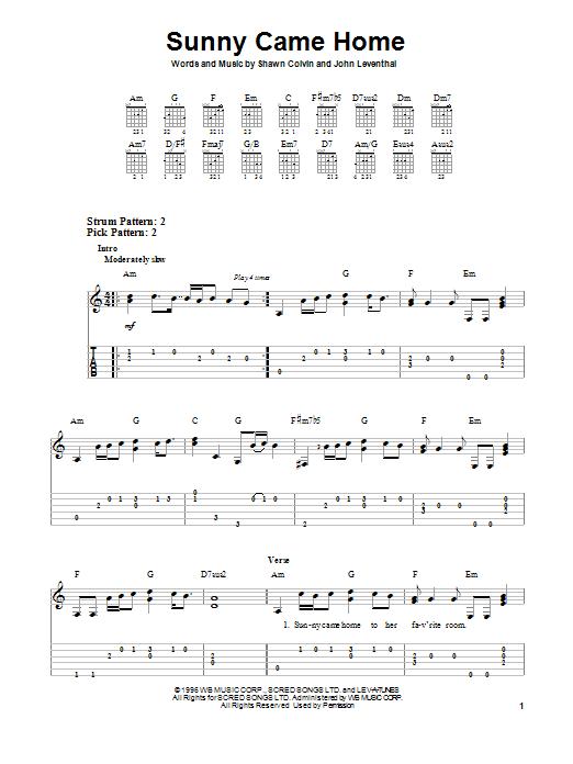 Tablature guitare Sunny Came Home de Shawn Colvin - Tablature guitare facile