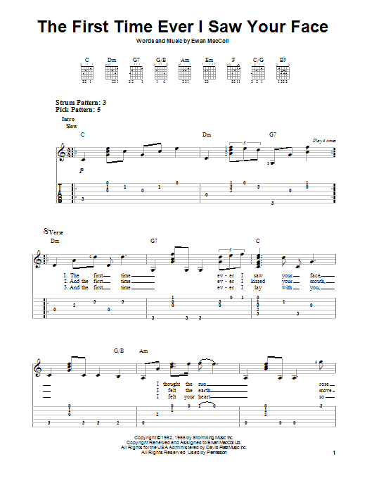 Tablature guitare The First Time Ever I Saw Your Face de Roberta Flack - Tablature guitare facile