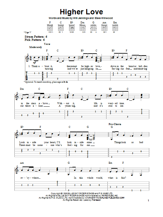 Tablature guitare Higher Love de Steve Winwood - Tablature guitare facile