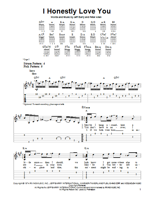 Tablature guitare I Honestly Love You de Olivia Newton-John - Tablature guitare facile