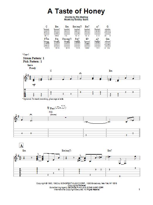 Tablature guitare A Taste Of Honey de The Beatles - Tablature guitare facile