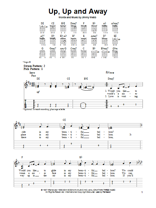 Tablature guitare Up, Up And Away de The Fifth Dimension - Tablature guitare facile