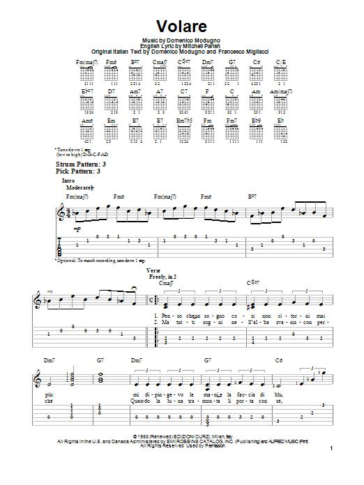Tablature guitare Volare de Domenico Modugno - Tablature guitare facile