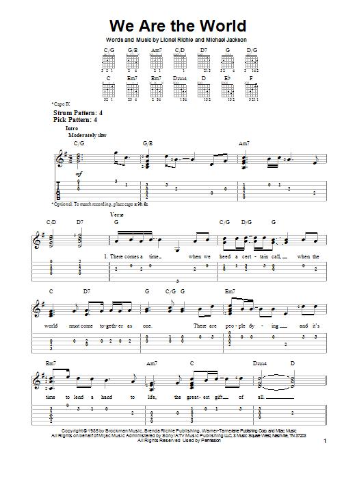 Tablature guitare We Are The World de Lionel Richie - Tablature guitare facile