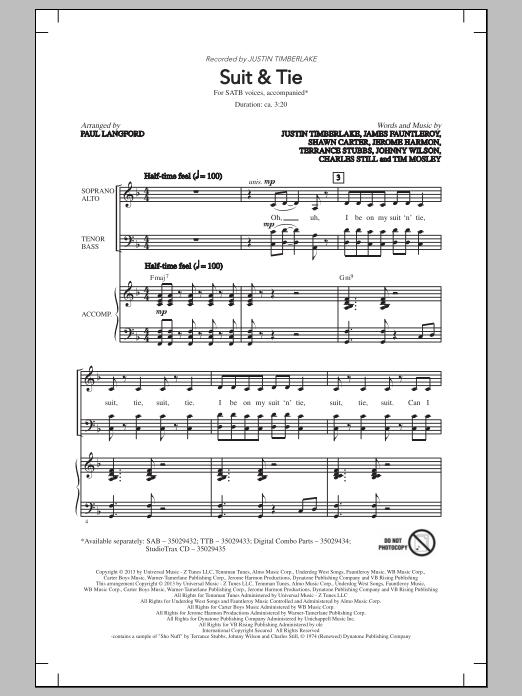Partition chorale Suit & Tie de Justin Timberlake - SATB