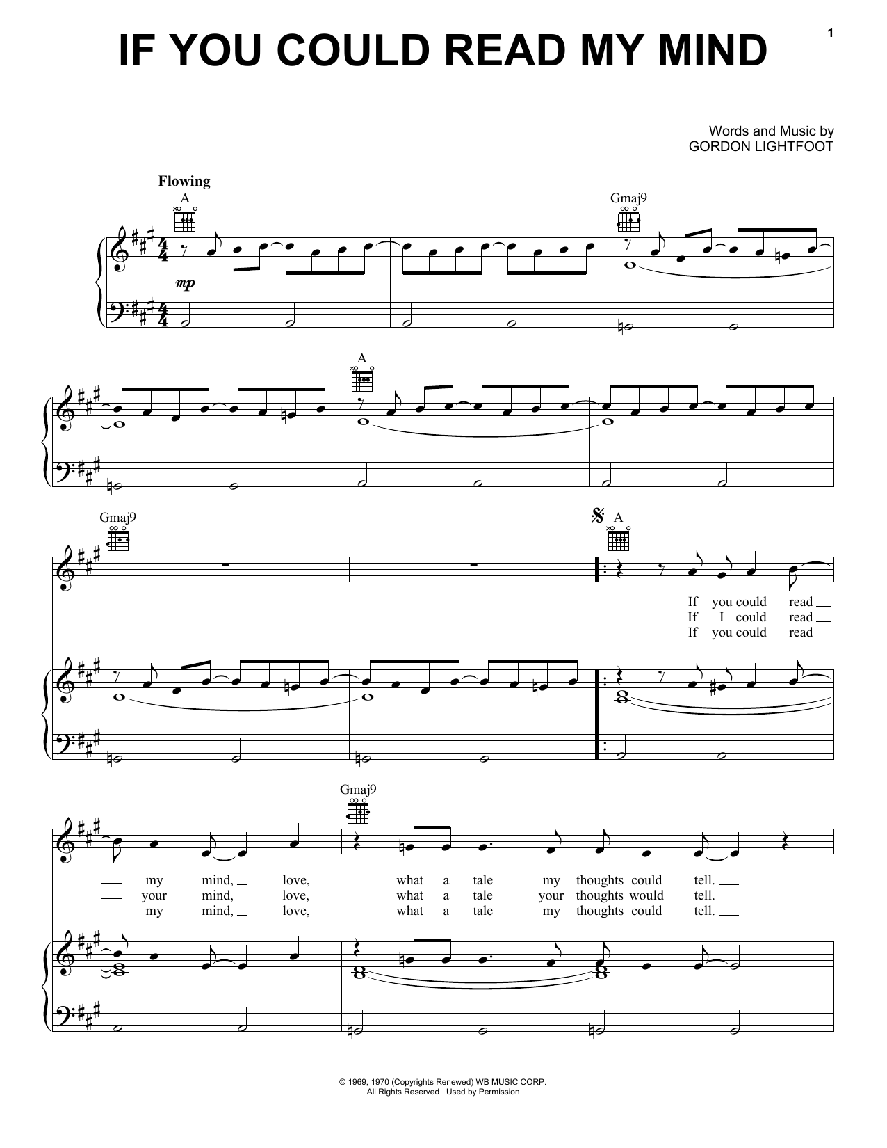 Partition piano If You Could Read My Mind de Gordon Lightfoot - Piano Voix Guitare (Mélodie Main Droite)