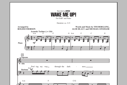 Partition chorale Wake Me Up! de Avicii - SAB