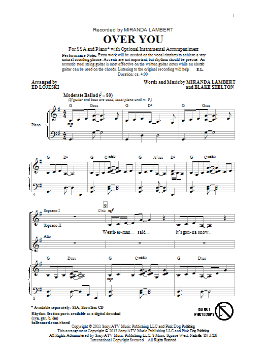 Partition chorale Over You de Miranda Lambert - SSA