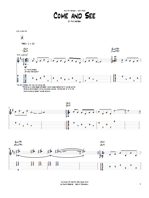 Tablature guitare Come And See de Pat Metheny - Tablature Guitare
