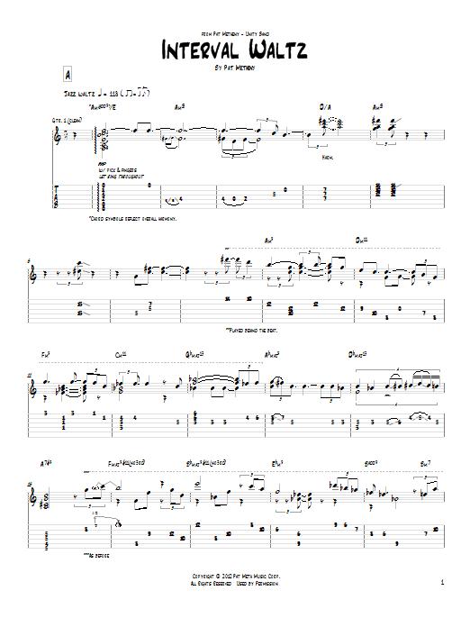 Tablature guitare Interval Waltz de Pat Metheny - Tablature Guitare