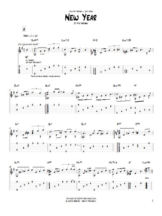 Tablature guitare New Year de Pat Metheny - Tablature Guitare