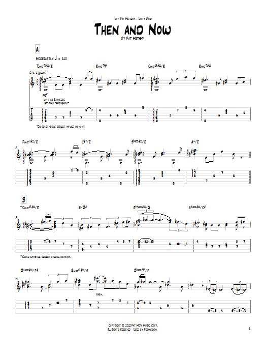 Tablature guitare Then And Now de Pat Metheny - Tablature Guitare