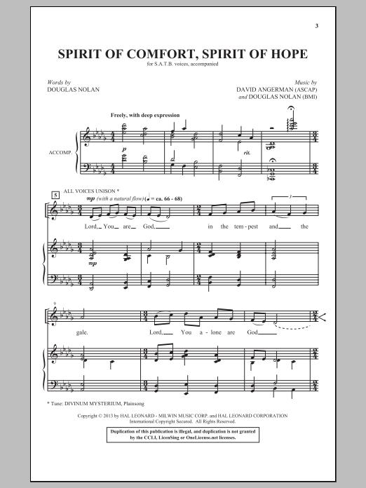 Partition chorale Spirit Of Comfort, Spirit Of Hope de David Angerman - SATB