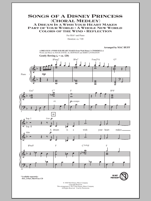 Partition chorale Songs of a Disney Princess (Choral Medley) de Mac Huff - SSA
