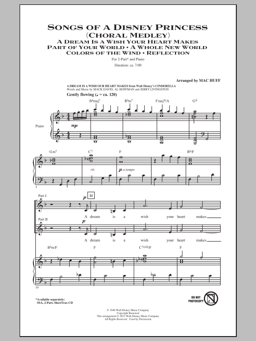 Partition chorale Songs of a Disney Princess (Choral Medley) de Mac Huff - 2 voix