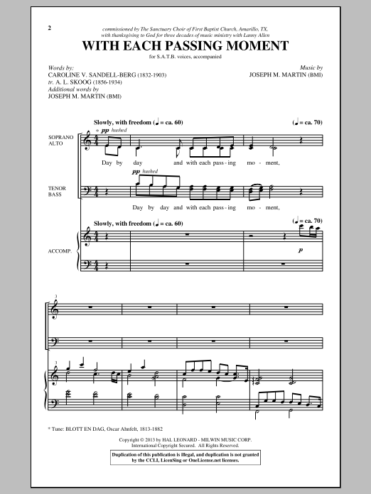 Partition chorale Day By Day de Joseph M. Martin - SATB