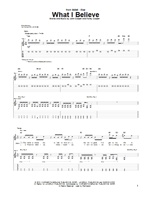 What I Believe Guitar Tab By Skillet Guitar Tab 151207