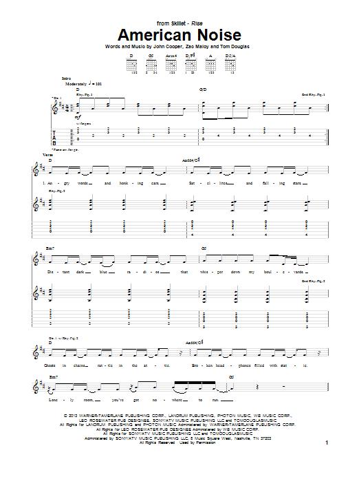 Tablature guitare American Noise de Skillet - Tablature Guitare