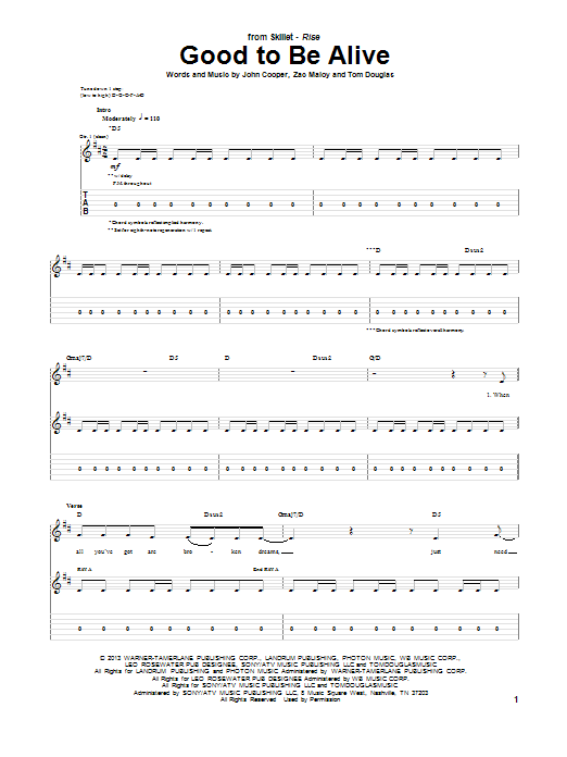 Tablature guitare Good To Be Alive de Skillet - Tablature Guitare