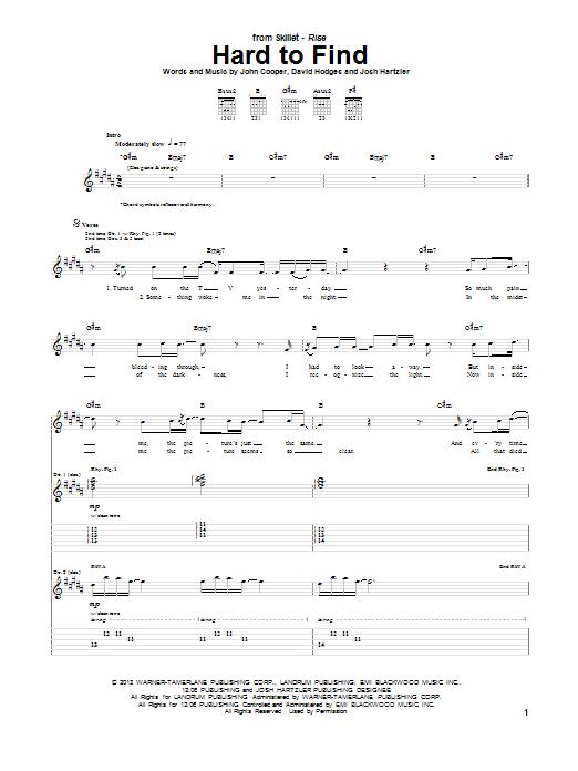 Tablature guitare Hard To Find de Skillet - Tablature Guitare