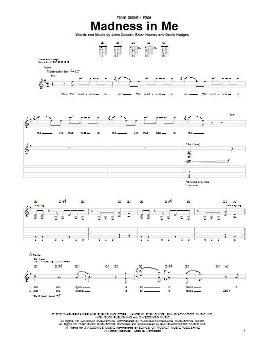 Tablature guitare Madness In Me de Skillet - Tablature Guitare
