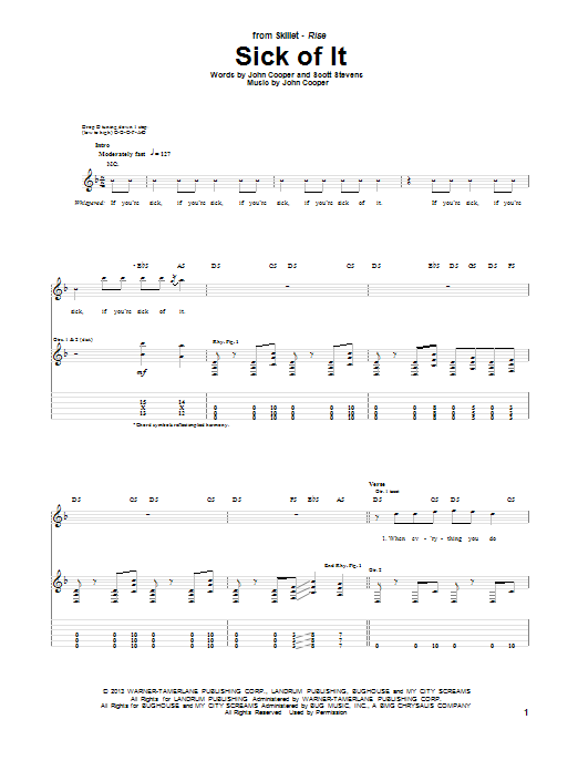 Tablature guitare Sick Of It de Skillet - Tablature Guitare