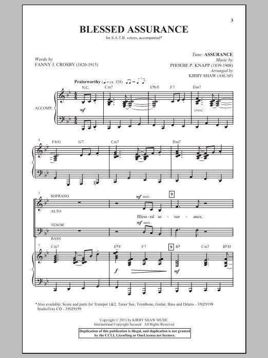 Partition chorale Blessed Assurance (arr. Kirby Shaw) de Phoebe P. Knapp - SATB