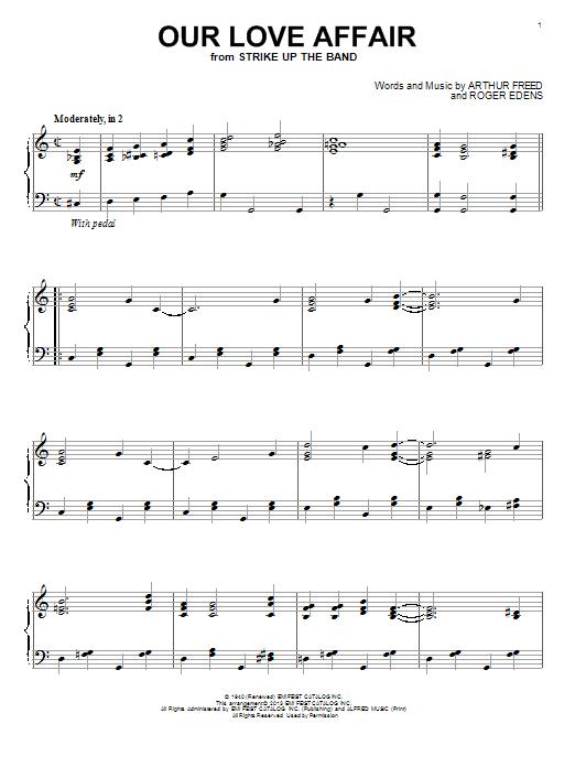 Partition piano Our Love Affair de Roger Edens - Piano Solo
