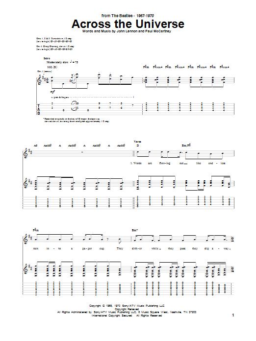Tablature guitare Across The Universe de The Beatles - Tablature Guitare