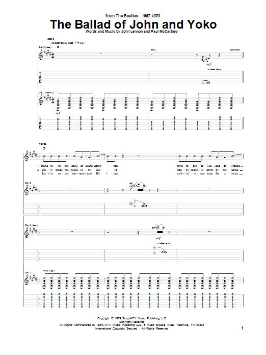 Tablature guitare The Ballad Of John And Yoko de The Beatles - Tablature Guitare
