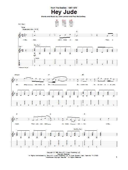 Tablature guitare Hey Jude de The Beatles - Tablature Guitare